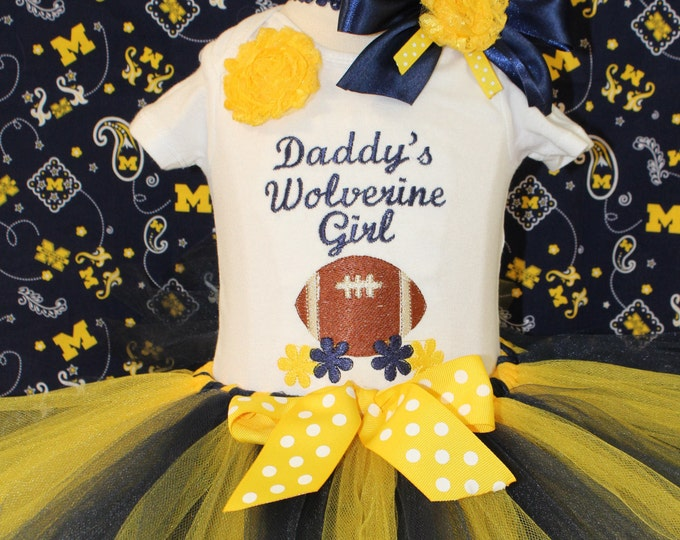 Wolverine baby girl outfit,Michigan Wolverines,Maize and Blue tutu,Michigan blue and yellow headband,Daddy's girl bodysuit,Football outfit