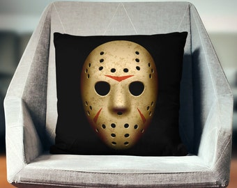 Horror Movie Decor | Jason Voorhees | Horror Decor | Jason Mask | Horror Pillow | Friday the 13th | Horror Mask | Horror Bedding