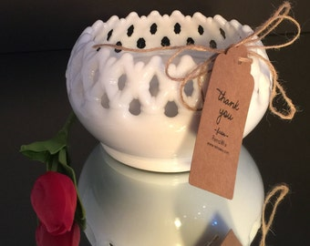 Milk Glass Soy Candle (Lace Lattice Bowl)- Pick A Scent