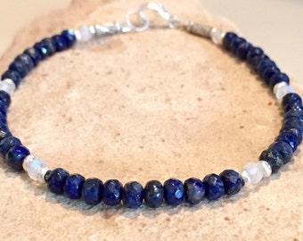 Blue bracelet, lapis bracelet, moonstone bracelet, Hill Tribe silver bracelet, gemstone bracelet, natural bracelet, sundance style bracelet