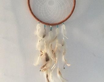 Large bohemian dreamcatcher, brown turquoise feather dreamcatcher, large feather dreamcatcher, boho dreamcatcher