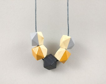 Geometric Necklace - Grey & Mustard | Statement Necklace | Gift for her | Geometric Jewellery | Beaded necklace | Minimalist necklace | Geo