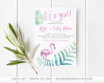 Flamingo Invitation, Let's Flamingle, Its a Girl, Baby Shower Invitation, Tropical, Palm, Pink Invites [530]