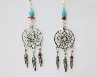 History's Dream Catcher earrings 3 inches     E-1073