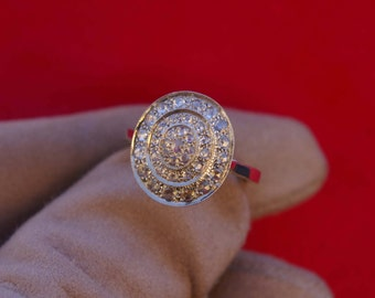 Diamond Engagement Ring, Edwardian Engagement Ring, rose cut diamonds and white gold, 1960, France, Free Shipping