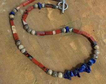 Necklace/Gemstone/Lapis/Jasper/            Fossil Coral/Gunmetal/StainlessSteel/   Blue/Red/Gray/Handmade