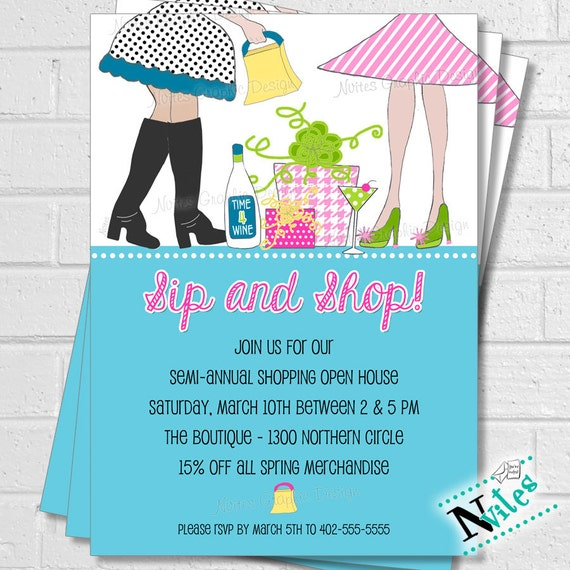 Sip Shop Party Invitation Ladies Boutique Open House Shop
