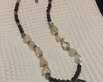 Petrified Wood Pendant Necklace with Citrine and Red Tiger Eye