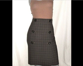 Nine West Stretch Brown/Black Plaid Career Double Breasted Button Skirt 12