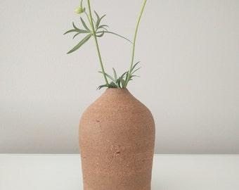 Small  Single Flower Terracotta Ceramic Vase, Handmade