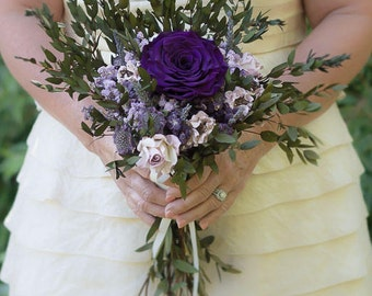 Purple Bouquet | Plum, Lavender and Lilac Medium Dried Wedding Flower Bouquet | The Evie Jane Collection