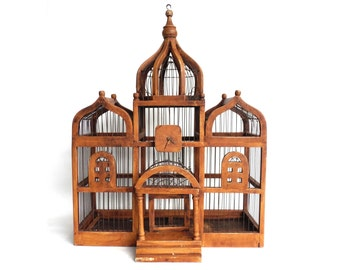 Birdcage, Antique Wooden Bird Cage, Antique French Home Decor, Antique Bird Cage. #6A8G1F40K14