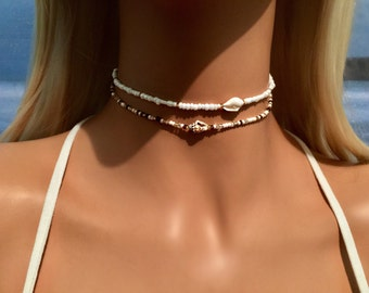 Shell Choker Necklace - White Choker - Boho Choker Necklace - Bohemian Necklace - Beach Jewelry - Mermaid Choker - Bridal Choker