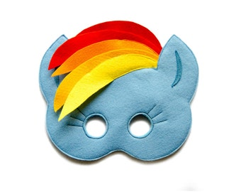 My Little Pony, RAINBOW DASH mask, Felt Pony mask, Kids Rainbow Dash costume, MLP party accessory, Adult mask,  Dress up, pretend play