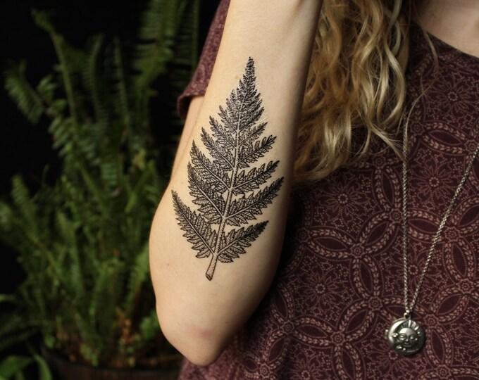 Featured listing image: Fern Leaf Temporary Tattoo, Forest Leaves Tattoo, Black Line Tattoo Design, Nature Tattoo