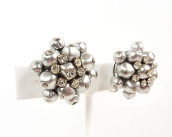 Vintage Silver Rhinestone Earrings with Metallic Bead Clusters from the 1940s