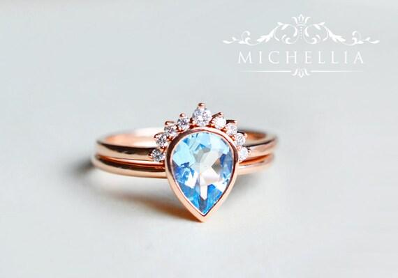 Aquamarine Pear Engagement Ring and Band Set