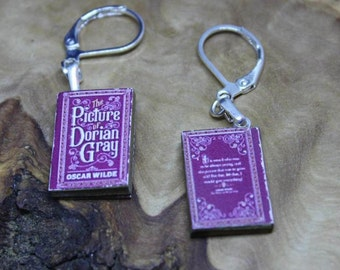 Miniature Book Earrings *With real pages!* Oscar Wilde's The Picture of Dorian Gray. Hand made, Unique, Dolls House accessories.