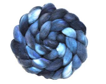 Merino, Silk, Hand Dyed Roving, Hand Dyed Combed Top, Indie Dyed, Spinning Fiber, Wool Roving, Midnight Train to Ga