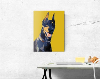 Custom dog Pop art portrait, Pop art dog portrait from photo, Pop art pet portrait, Dog Portrait custom, Doberman art, Custom dog portrait