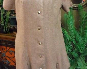Vintage WW11 1940's Brown A Line Tweed/Wool Dress