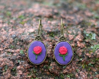 Anniversary gift for wife Birthday gift for her Purple earrings Flower embroidery earrings Red rose earrings Fall jewelry Autumn studs