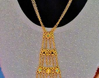 Vtg FLORENZA Signed Victorian Revival Ornate Multi Strand Dangle Drop Tassel Necklace Cameo Turquoise Garnet Women Hi End Costume Jewelry