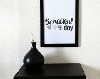 """""""Beautiful Day"""", wall art print poster. Illustrated and created by pretty Mess"""