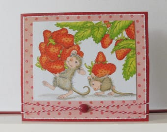 Strawberries card - Mices card - Blank double greeting card - Hand colored - Main card color is red