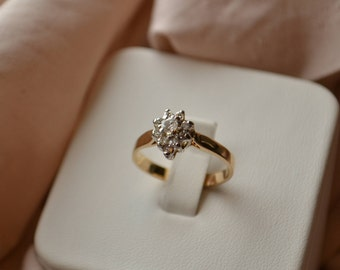 Lovely and romantic vintage 10K yellow and white gold pear-shaped Diamond cluster ring