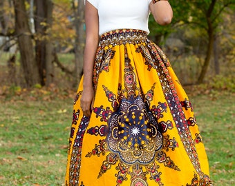 Orange Dashiki Maxi Skirt Gathered African Print Skirt African Wedding Dress Ankara Maxi Skirt African Plus Size Skirt African Gift for Her