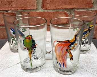 Set of Four Vintage Juice Glasses Featuring Colorful Hand Painted Exotic Tropical Birds