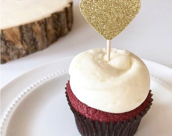 Gold heart cupcake toppers // Rose gold heart cupcake toppers // Gold wedding // Gold bridal shower