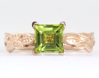Peridot Ring ,Rose gold peridot leaf engagement ring, Leaves peridot engagement ring, Engagement ring with peridot, Nature forest ring