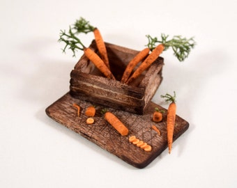 Carrot Harvest Board, Dollhouse Miniature Food, 1:12 Scale