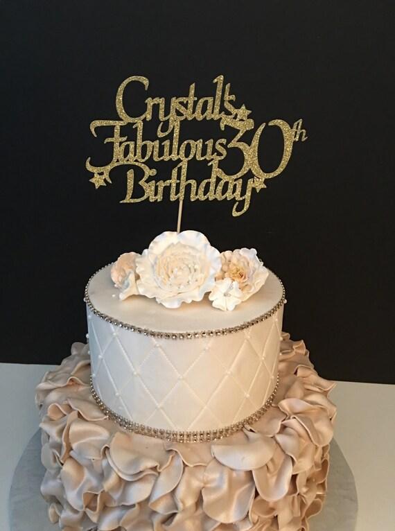 Any Name Amp Number Gold Glitter 30th Birthday Cake Topper 30