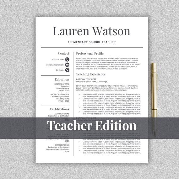 Lehrer-Lebenslauf-Vorlage Für Word / Lehrer Cv Von Prographicdesign