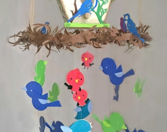 Baby Mobile, Bird Mobile, bird baby mobile, Birds Decor, Nursery Mobile, Mobile Baby Girl, Mobile Baby Boy, Birdhouse, Ceiling Mobile