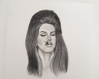Original portrait drawing of Lana Del Rey Lizzy Grant art handmade artwork original art