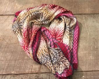 Vintage Pink and Red Anne Klein Silk Scarf , Red , Pink , Beige , Ladies Silk Scarf , Silk , Metallic ,
