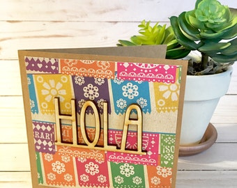 Hola Greeting Card | Fiesta Cards | Hola Cards| Fiest Party Cards | Hello Card | Just Because Card