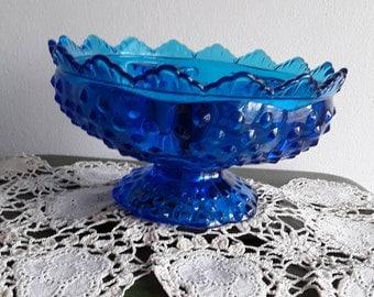Vintage Blue Hobnail Single Candle Holder Dish