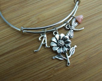 Daisy Flower Bangle Bracelet, Dragonfly Charm Bracelet, Initial Jewelry, Spring Bracelet, Summer Spring Jewelry, Personalized, Gift Under 20