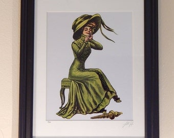 """Lady Liberty Takes a Smoke Break [12""""x15""""] Matted & Framed Pop Art Print"""