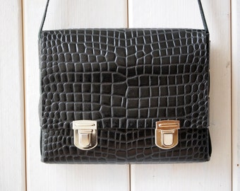 Black Leather Crossbody Bag, Black Leather Bag, Black Leather Shoulder bag, Gift for her, Handmade Leather Crossbody, Handmade Black Bag