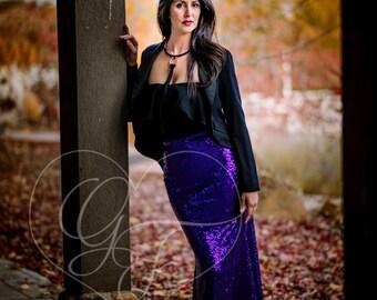 Sequin Maxi Skirt - Trumpet Mermaid - Regal Purple