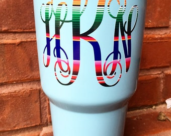 Serape Monogram Decal | Serape Mexican Blanket Decal | Yeti Cup Decal | Tumbler Decal | Rainbow | Aztec | Serape Mexican Monogram Decal |