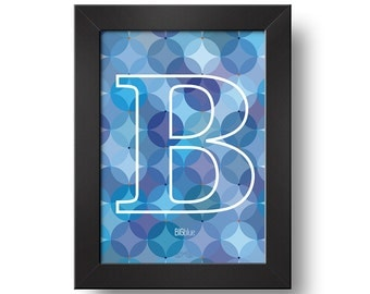 B - big BLUE Digital print Framed print Typography Design art