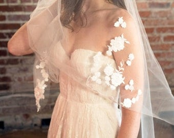 Scattered Chantilly Lace Soft Tulle Single Tier Fingertip Veil | Floral Lace with Leaf Detail | Romantic Bridal Accessories | Wedding Veil