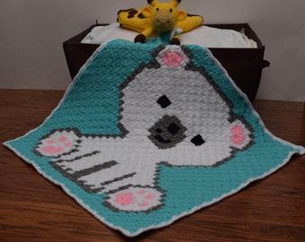 Crochet Baby Blanket | Crochet Polar Bear Cub Blanket | Crochet C2C Blanket | Car Seat Blanket | Stroller Blanket | Crib Cover | Baby Shower